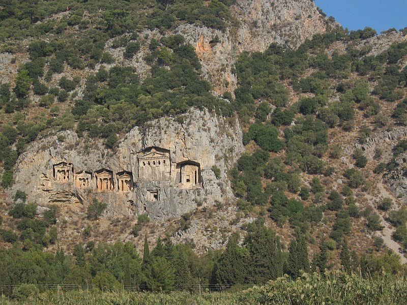 Lycian-style tombs across the river