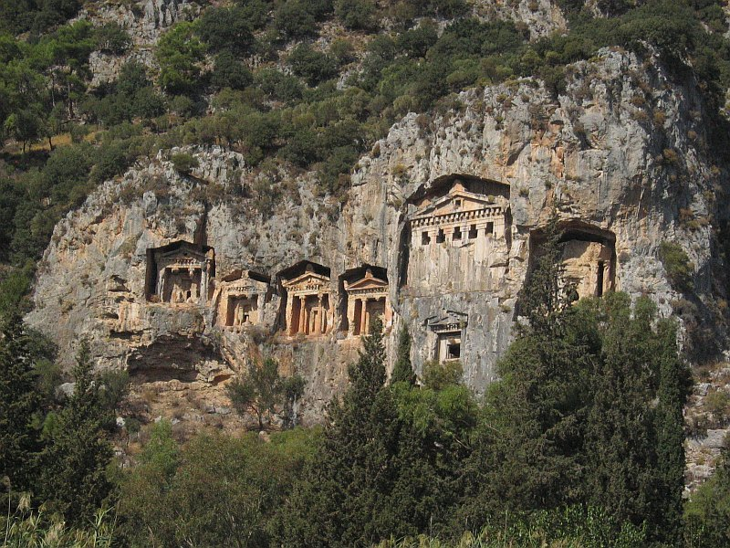 A closer view of the Lycian rock tombs across from Dalyan<br>from moving boat