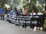 Orderly protest at Dhaka University  supporting a disabled student
