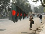 Selling flags for upcoming national holiday. Green for the fertile land, Red for the blood of the people shed in 1971 war