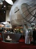 Emirates Airline booth dwarfed by an A380 fuselage mockup