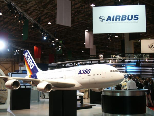 The A380 Superjumbo. Emirates has orders for 45 of them to be delivered starting in 2006.