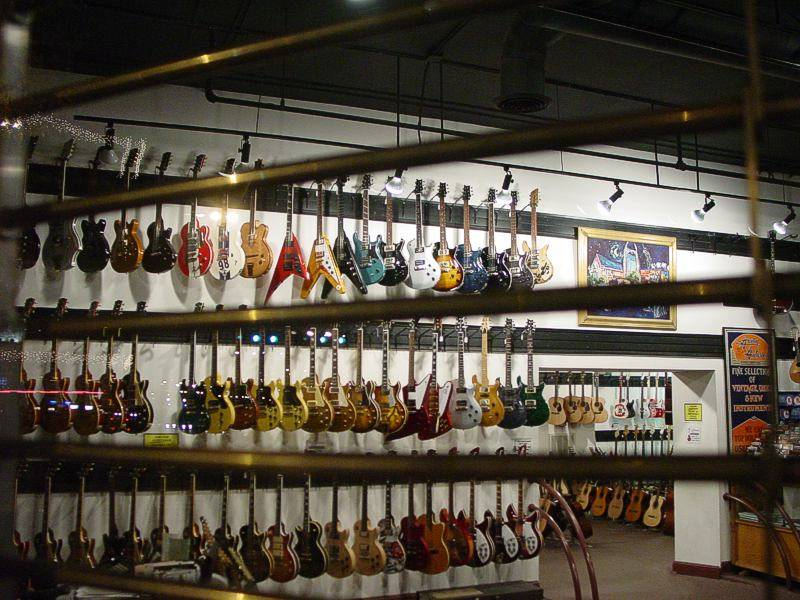 Guitars waiting to be played at Gruhns in Nashville