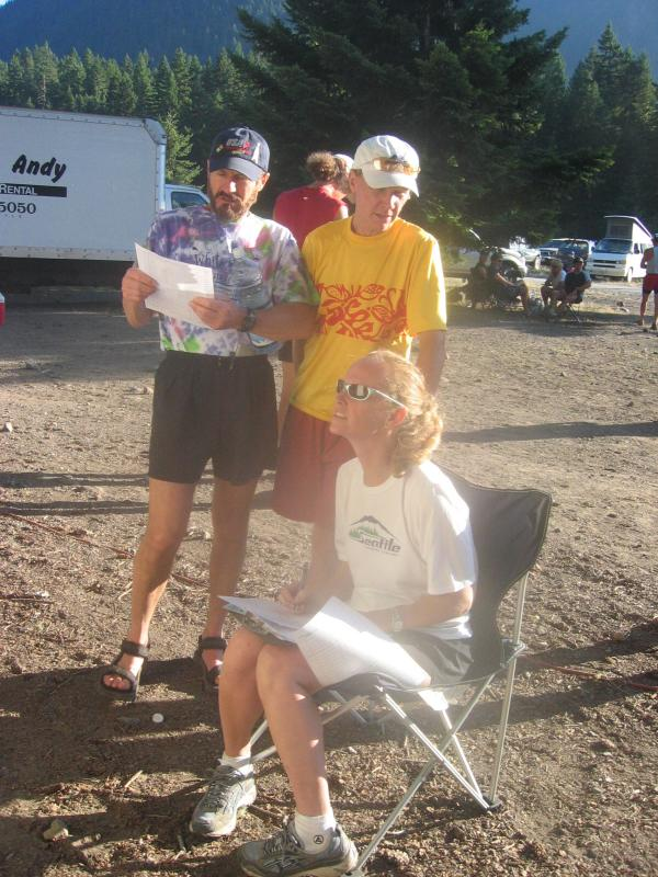 RD Scott McCoubrey (in yellow) & sister Mo compile results
