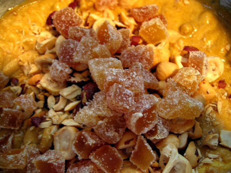 Fold in hazelnuts, raisins & candied ginger