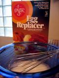 Whisk 3 tsp egg replacer & 4 Tbs water