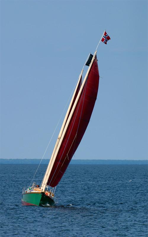 sailboat. with red sails