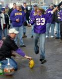 That blonde went airborne trying to kick a field goal