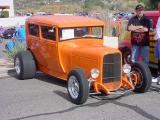 orange five window sedan