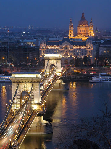 Chain Bridge, Four Seasons Hotel and Szent István Basilic as seen from the Royal Palace hill.