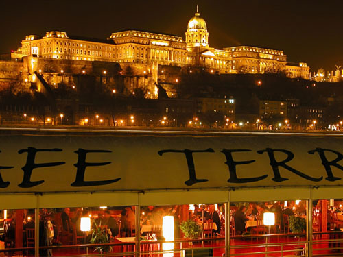 Royal Palace and river boat café, Danube east bank
