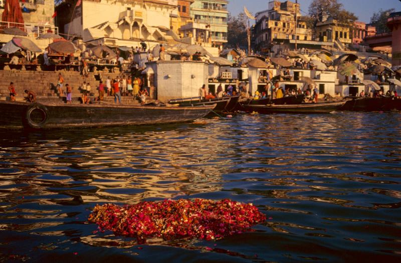 Funeral flowers on the ganges