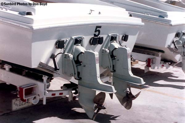 1973 - Twin propulsion on Presidential security go fast boat - Coast Guard stock photo