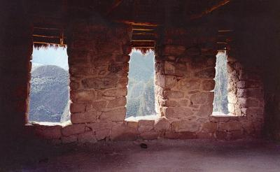Inside the hut.  What a view they had