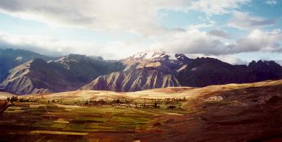 The Sacred Valley - mountains behind farmed land