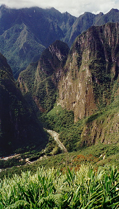 The Urubamba River about 1,500 feet below