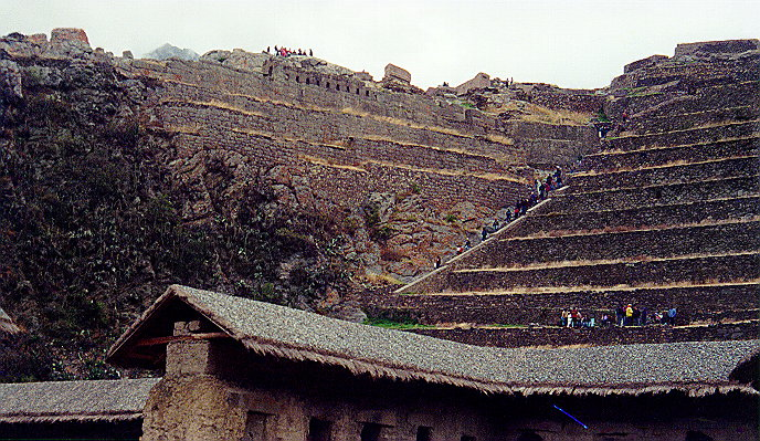 Ollantaytambo steps to fortress remains, top left