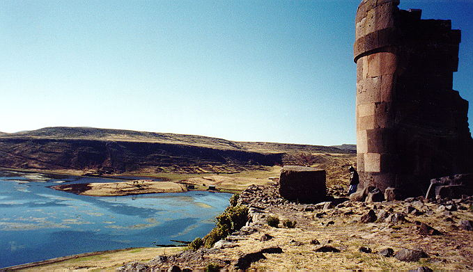 Sillustani lake and striking tomb (chullpa)
