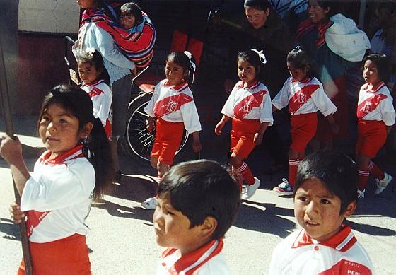 Puno: it was a celebration day. Taken from train window.