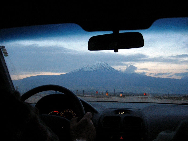 1st sighting of Mt. Ararat, 17,000 ft high, from rental car