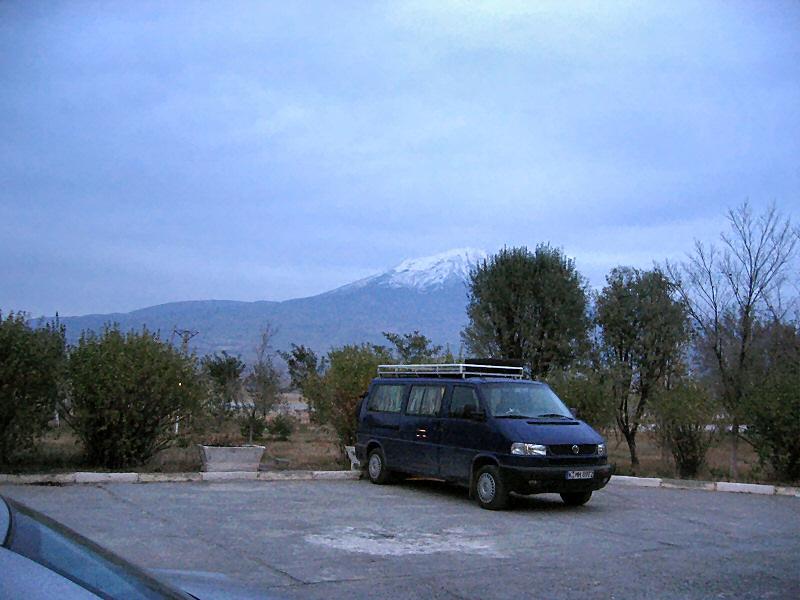 At  Hotel Simer in Dogubayazit, on Iran transit road,<br>Mt. Ararat near sundown