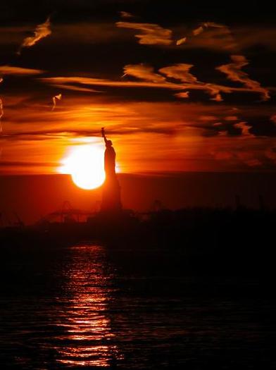 sunset from Battery Park  manhattan