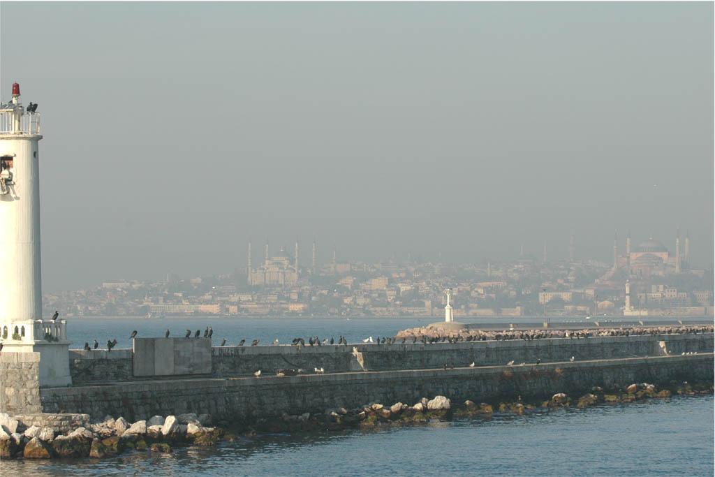 Blue Mosque and Aya Sofia from Kadiköy harbour