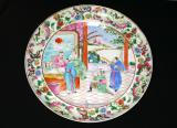Chinese Export Rose Famille Porcelain Plate, 18th century,  10 inches diameter