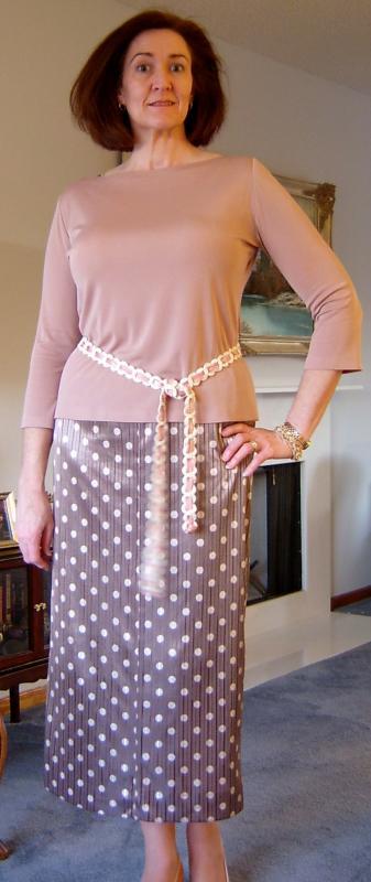 Clay Tee & Taupe Dot Skirt