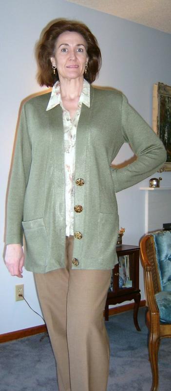 Olive Rayon Knit Cardigan