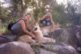 Becs & Rachel with lions