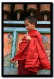 Small Monk under the Old Prayer Wheels, Labrang Gompa, North Sikkim
