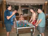 Playing table soccer