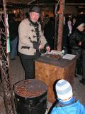 Roasted chestnuts vendor at Vorosmarty christmas fair