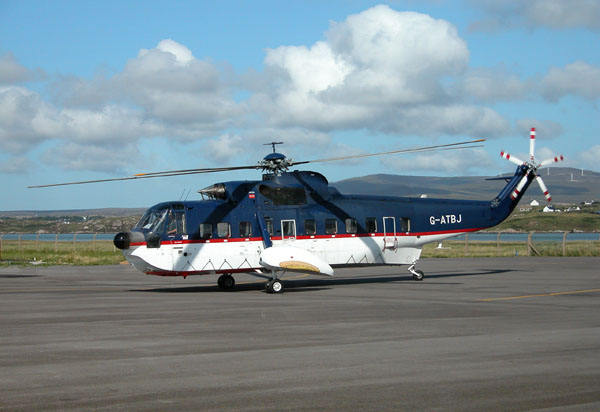 North Sea oil rigs commuter helicopter (Sikorsky S-61N) at Donegal airport (Co. Donegal)