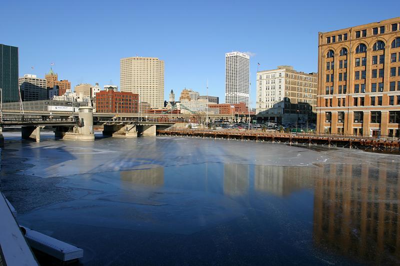 Frozen Milwaukee River north