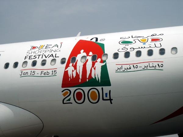 Emirates A330 advertising the Dubai Shopping Festival