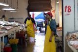 A view inside Ensenada's seafood market.