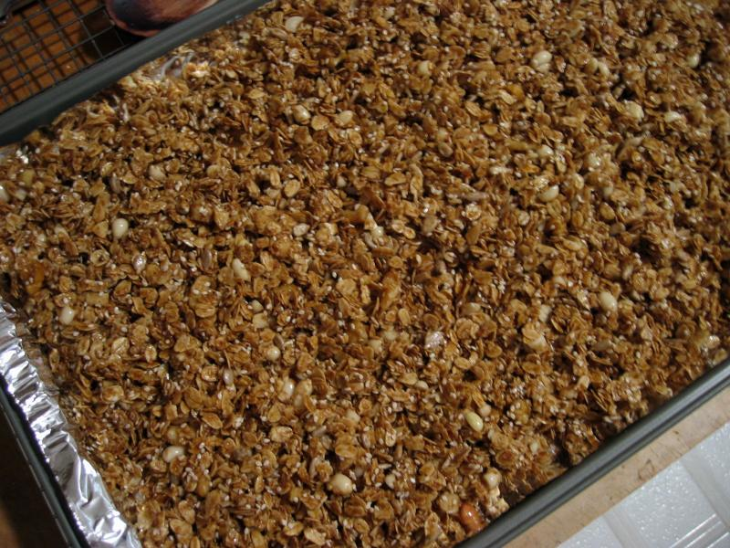 Spread on a baking sheet and bake at 275 degrees F...