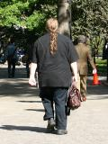 Mario Batali, a Famous NYC Chef and Restaurant Entrepreneur in Union Square on His Way to the Farmers Market