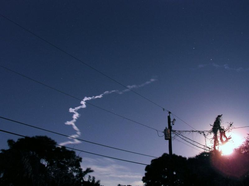 Lockheed Atlas 2AS Night Launch - Moonlit Contrail