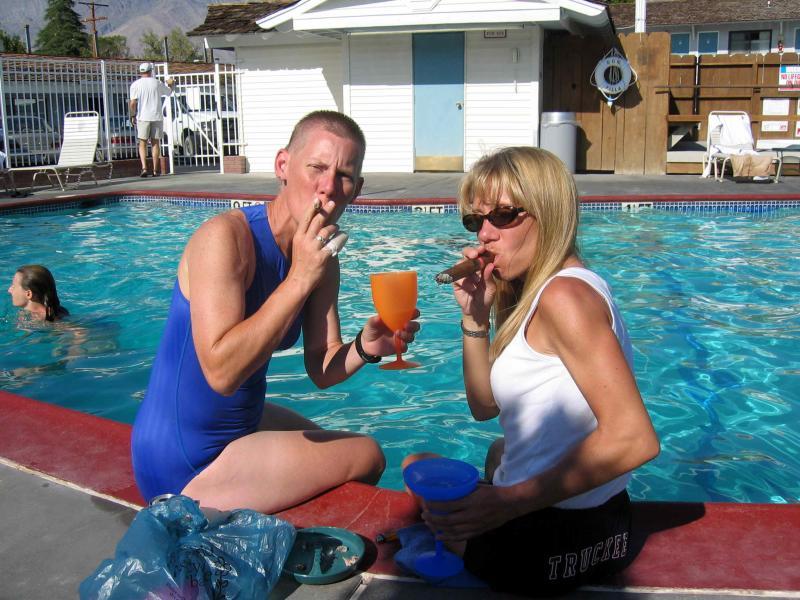 Pool-side celebration