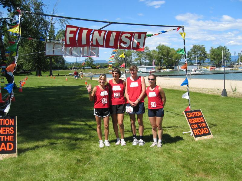 The only ultra team of 4 females vs 12-runner teams:  We finished 4th place overall in 36hrs 32 mins!