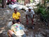 Post-summit joy at the Whitney trailhead: Art Webb and Marshall Ulrich complete their summit & descent