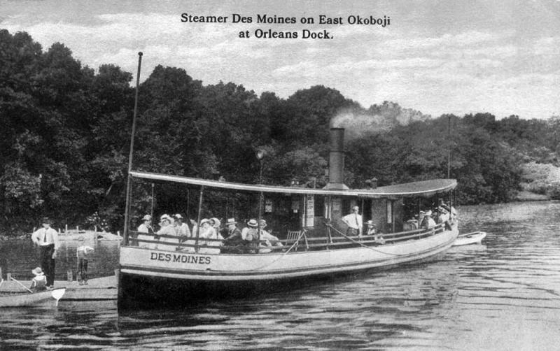 Steamer Des Moines Orleans Dock on East Okoboji