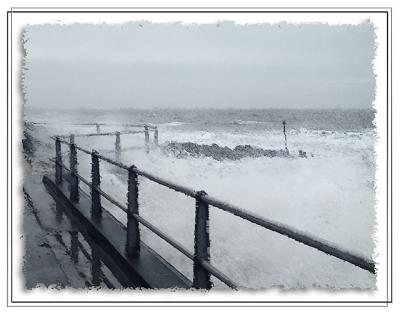 In for a soaking at West Bay, Dorset