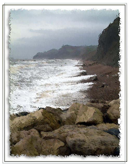 Rough seas at West Bay, Dorset