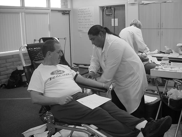 getting ready to donate blood 2004