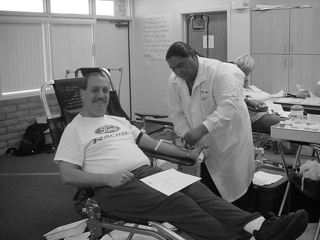 Jeff in 2004 <br>donating blood