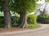 Veldkruis, kastanjebomen en een holle weg